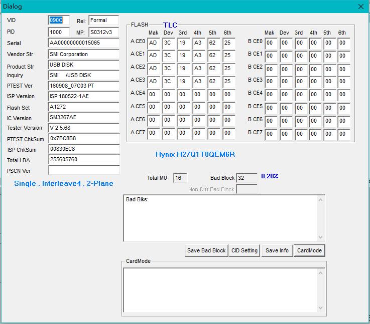 海力士开卡记录 TLC H27Q1T8QEM6R 16NM 成功开卡